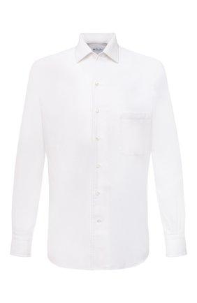 Мужская хлопковая рубашка LORO PIANA белого цвета, арт. FAD3172 | Фото 1 (Длина (для топов): Стандартные; Рукава: Длинные; Материал внешний: Хлопок; Принт: Однотонные; Случай: Повседневный; Воротник: Акула; Манжеты: На пуговицах; Стили: Кэжуэл)