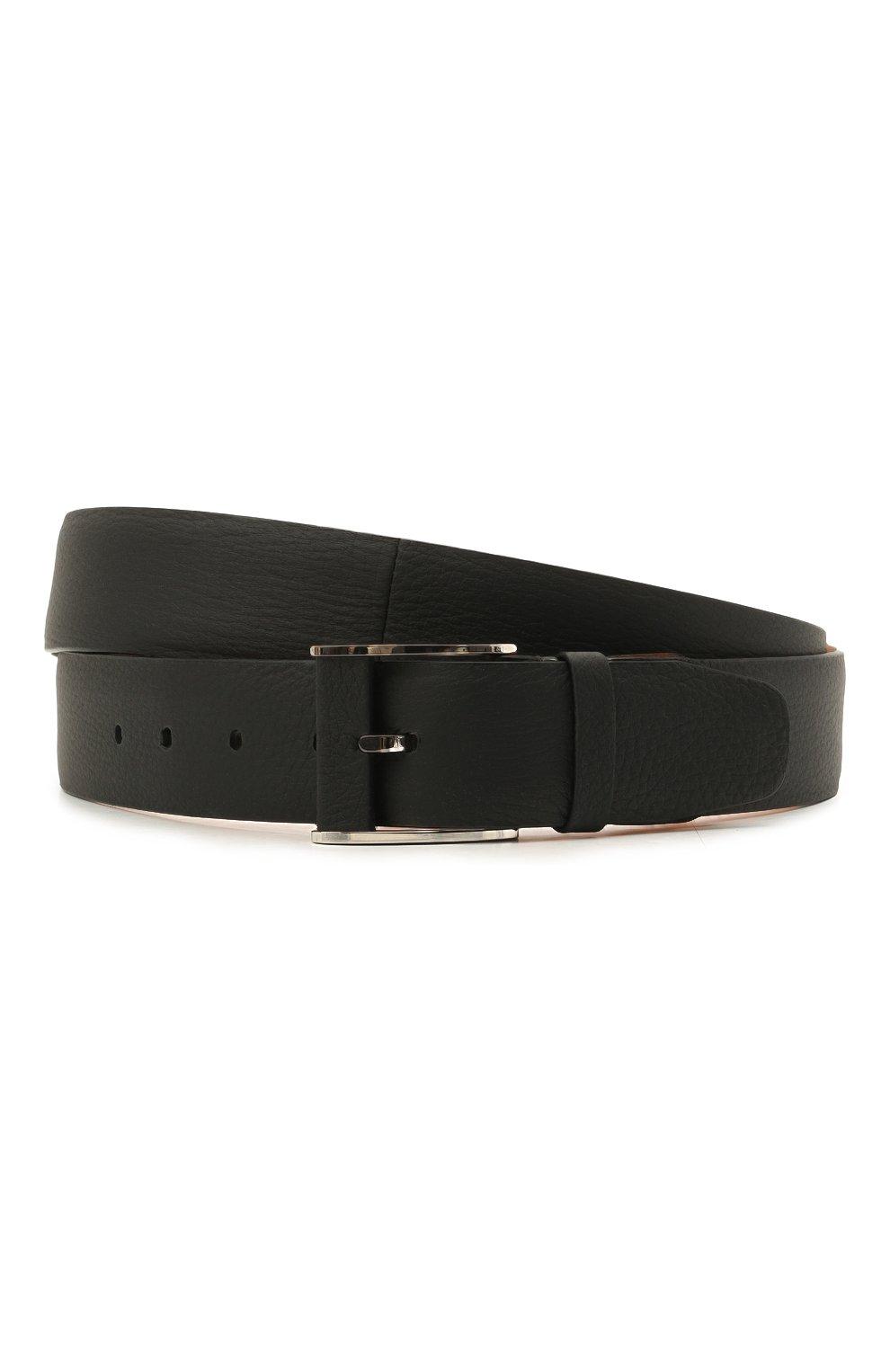 Мужской кожаный ремень ZILLI черного цвета, арт. MJL-CLAQE-01947/0232/120-130 | Фото 1 (Случай: Формальный)