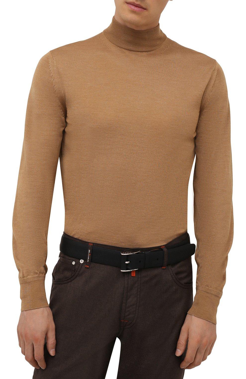 Мужской кожаный ремень ZILLI черного цвета, арт. MJL-CLAQE-01947/0232/120-130 | Фото 2 (Случай: Формальный)