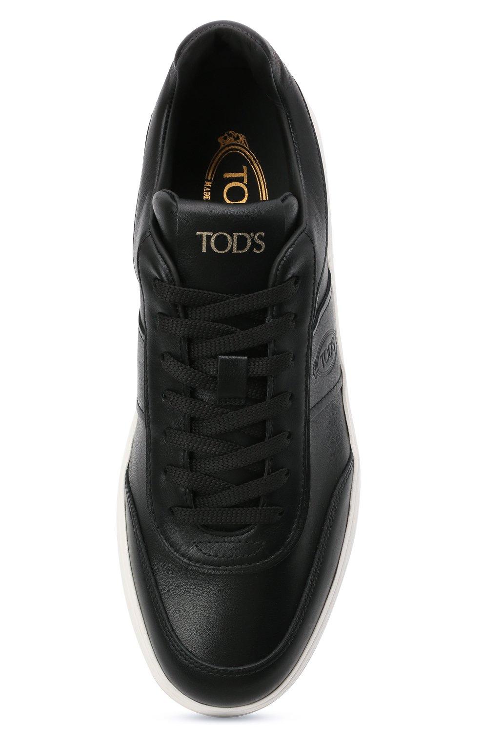 Мужские кожаные кеды TOD'S черного цвета, арт. XXM79B0DP30JUS | Фото 5 (Материал внутренний: Натуральная кожа; Подошва: Массивная)