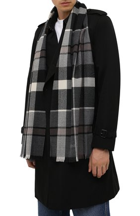 Мужской шерстяной шарф CORNELIANI темно-серого цвета, арт. 88B323-1829072/00   Фото 2