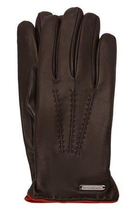 Мужские кожаные перчатки CORNELIANI темно-коричневого цвета, арт. 88Q338-1820575/00 | Фото 1 (Мужское Кросс-КТ: Кожа и замша)
