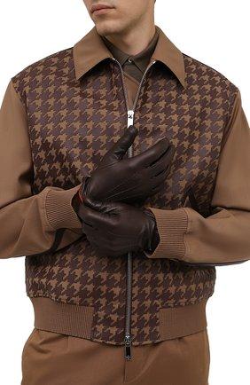 Мужские кожаные перчатки CORNELIANI темно-коричневого цвета, арт. 88Q338-1820575/00 | Фото 2 (Мужское Кросс-КТ: Кожа и замша)