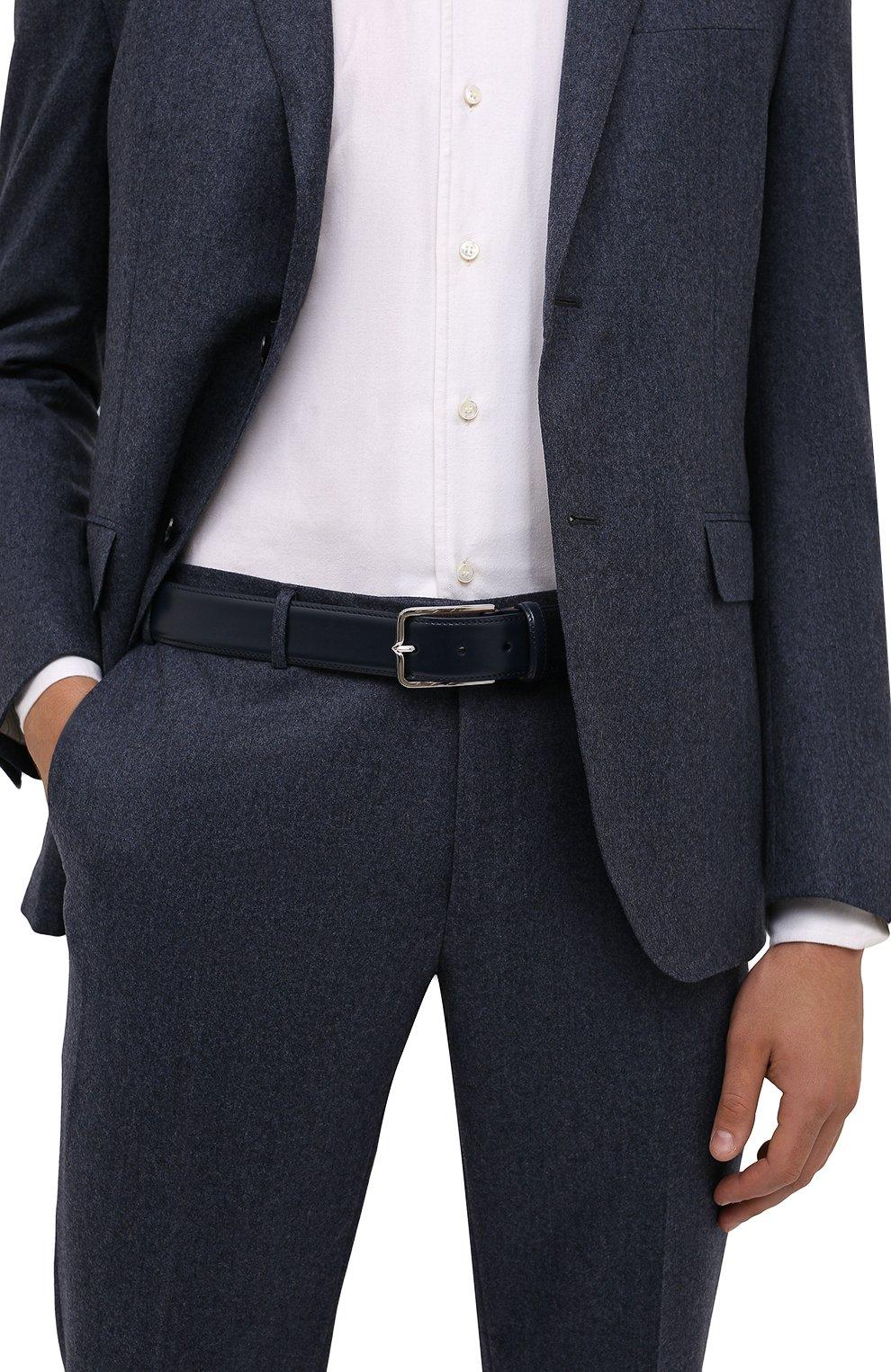 Мужской кожаный ремень CORNELIANI темно-синего цвета, арт. 88V301-1820830/00   Фото 2 (Случай: Формальный)