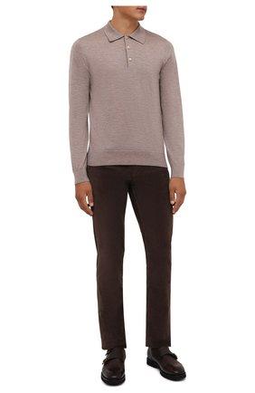 Мужские хлопковые брюки LORO PIANA коричневого цвета, арт. FAI2480 | Фото 2 (Материал внешний: Хлопок; Случай: Повседневный; Стили: Кэжуэл; Длина (брюки, джинсы): Стандартные)