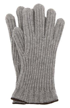 Мужские кашемировые перчатки LORO PIANA серого цвета, арт. FAI4645 | Фото 1 (Кросс-КТ: Трикотаж; Материал: Кашемир, Шерсть)