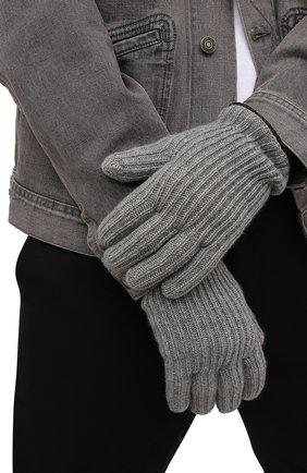 Мужские кашемировые перчатки LORO PIANA серого цвета, арт. FAI4645 | Фото 2 (Кросс-КТ: Трикотаж; Материал: Кашемир, Шерсть)