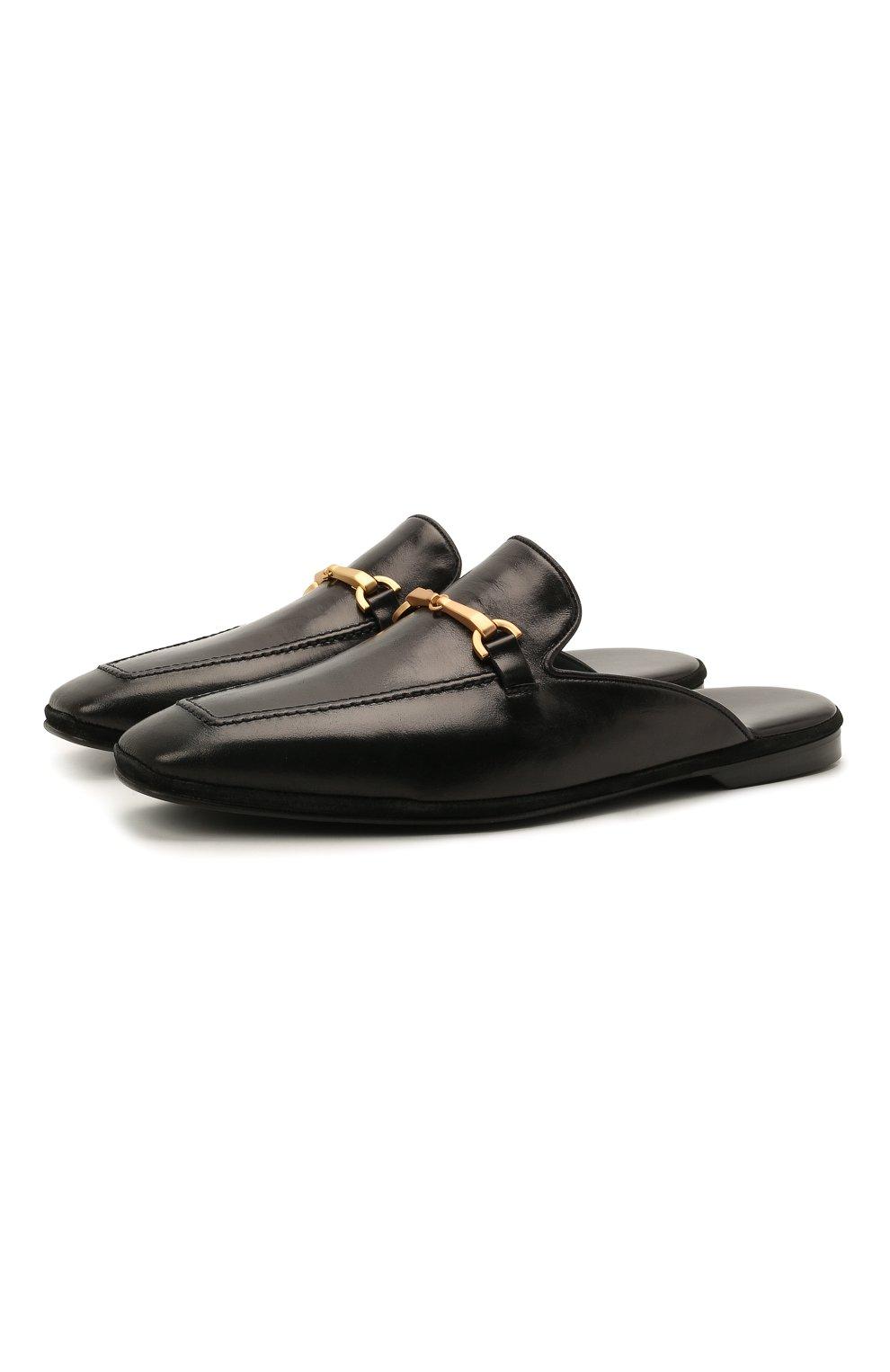 Мужского кожаные домашние туфли FARFALLA черного цвета, арт. D4XAM   Фото 1 (Материал внутренний: Натуральная кожа; Мужское Кросс-КТ: тапочки-обувь)