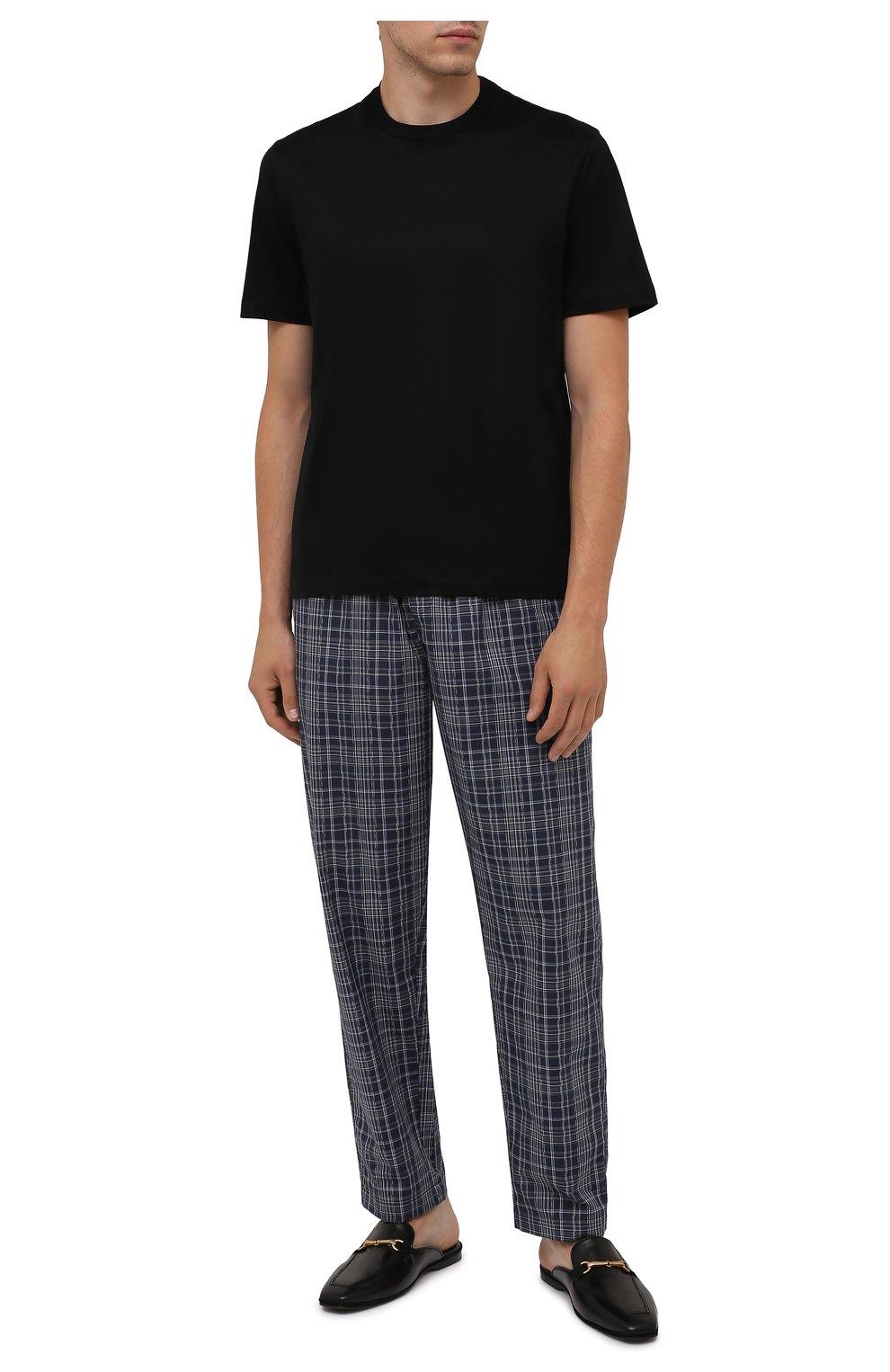 Мужского кожаные домашние туфли FARFALLA черного цвета, арт. D4XAM   Фото 2 (Материал внутренний: Натуральная кожа; Мужское Кросс-КТ: тапочки-обувь)