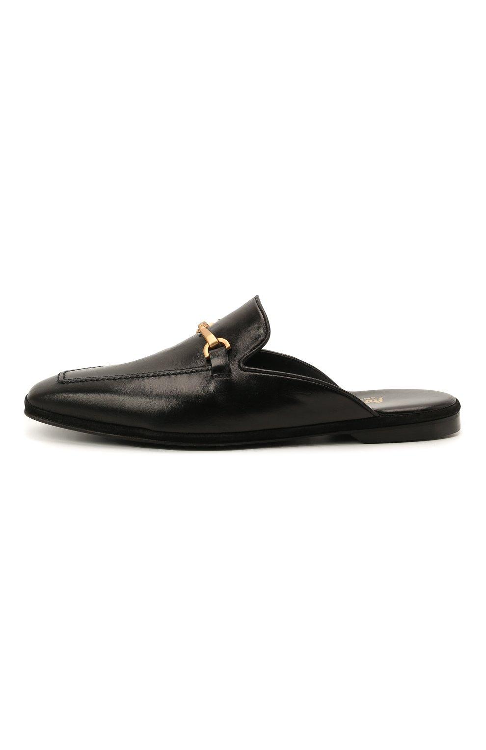 Мужского кожаные домашние туфли FARFALLA черного цвета, арт. D4XAM   Фото 3 (Материал внутренний: Натуральная кожа; Мужское Кросс-КТ: тапочки-обувь)