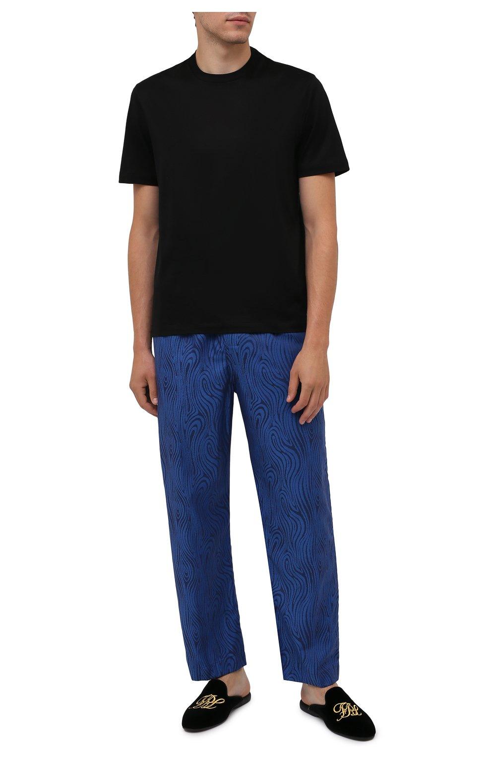 Мужского текстильные домашние туфли FARFALLA черного цвета, арт. G15R | Фото 2 (Материал внешний: Текстиль; Материал внутренний: Натуральная кожа, Текстиль; Мужское Кросс-КТ: тапочки-обувь)
