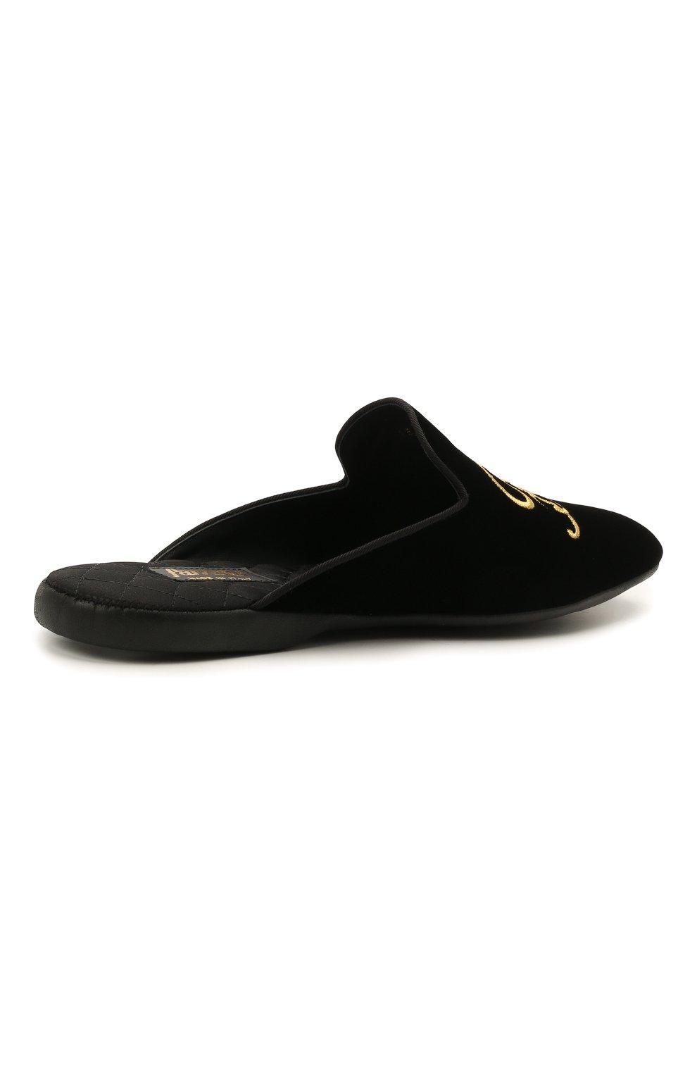 Мужского текстильные домашние туфли FARFALLA черного цвета, арт. G15R | Фото 4 (Материал внешний: Текстиль; Материал внутренний: Натуральная кожа, Текстиль; Мужское Кросс-КТ: тапочки-обувь)