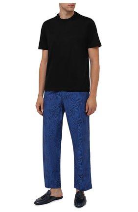Мужского кожаные домашние туфли FARFALLA темно-синего цвета, арт. G61N | Фото 2 (Материал внутренний: Натуральная кожа; Мужское Кросс-КТ: тапочки-обувь)