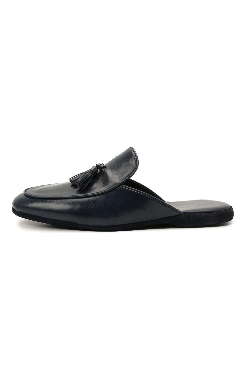 Мужского кожаные домашние туфли FARFALLA темно-синего цвета, арт. G61N | Фото 3 (Материал внутренний: Натуральная кожа; Мужское Кросс-КТ: тапочки-обувь)