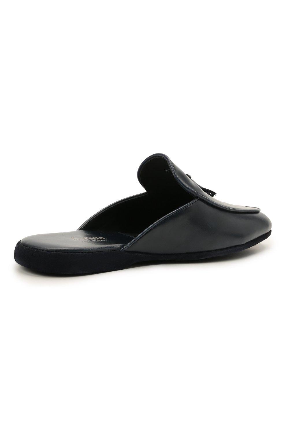 Мужского кожаные домашние туфли FARFALLA темно-синего цвета, арт. G61N | Фото 4 (Материал внутренний: Натуральная кожа; Мужское Кросс-КТ: тапочки-обувь)