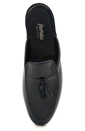 Мужского кожаные домашние туфли FARFALLA темно-синего цвета, арт. G61N | Фото 5 (Материал внутренний: Натуральная кожа; Мужское Кросс-КТ: тапочки-обувь)