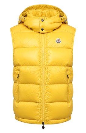 Мужской пуховый жилет bormes MONCLER желтого цвета, арт. G2-091-1A001-52-68950 | Фото 1 (Материал подклада: Синтетический материал; Материал утеплителя: Пух и перо; Материал внешний: Синтетический материал; Кросс-КТ: Пуховик, Куртка; Стили: Спорт-шик; Длина (верхняя одежда): Короткие)