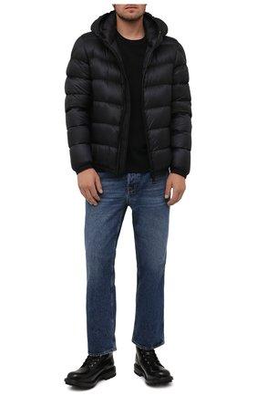 Мужская пуховая куртка myosotis MONCLER черного цвета, арт. G2-091-1A000-97-53334 | Фото 2 (Рукава: Длинные; Материал утеплителя: Пух и перо; Материал внешний: Синтетический материал; Материал подклада: Синтетический материал; Длина (верхняя одежда): Короткие; Кросс-КТ: Куртка; Мужское Кросс-КТ: пуховик-короткий; Стили: Кэжуэл)