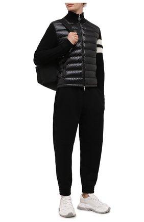 Мужской комбинированный кардиган MONCLER черного цвета, арт. G2-091-9B000-02-M1131 | Фото 2 (Материал внешний: Шерсть; Материал утеплителя: Пух и перо; Рукава: Длинные; Длина (для топов): Стандартные; Материал подклада: Синтетический материал; Мужское Кросс-КТ: Кардиган-одежда; Стили: Кэжуэл)