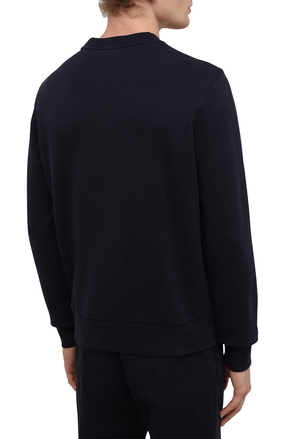 Мужской хлопковый свитшот MONCLER темно-синего цвета, арт. G2-091-8G000-23-809KR | Фото 4 (Рукава: Длинные; Длина (для топов): Стандартные; Принт: С принтом; Мужское Кросс-КТ: свитшот-одежда; Материал внешний: Хлопок; Стили: Кэжуэл)