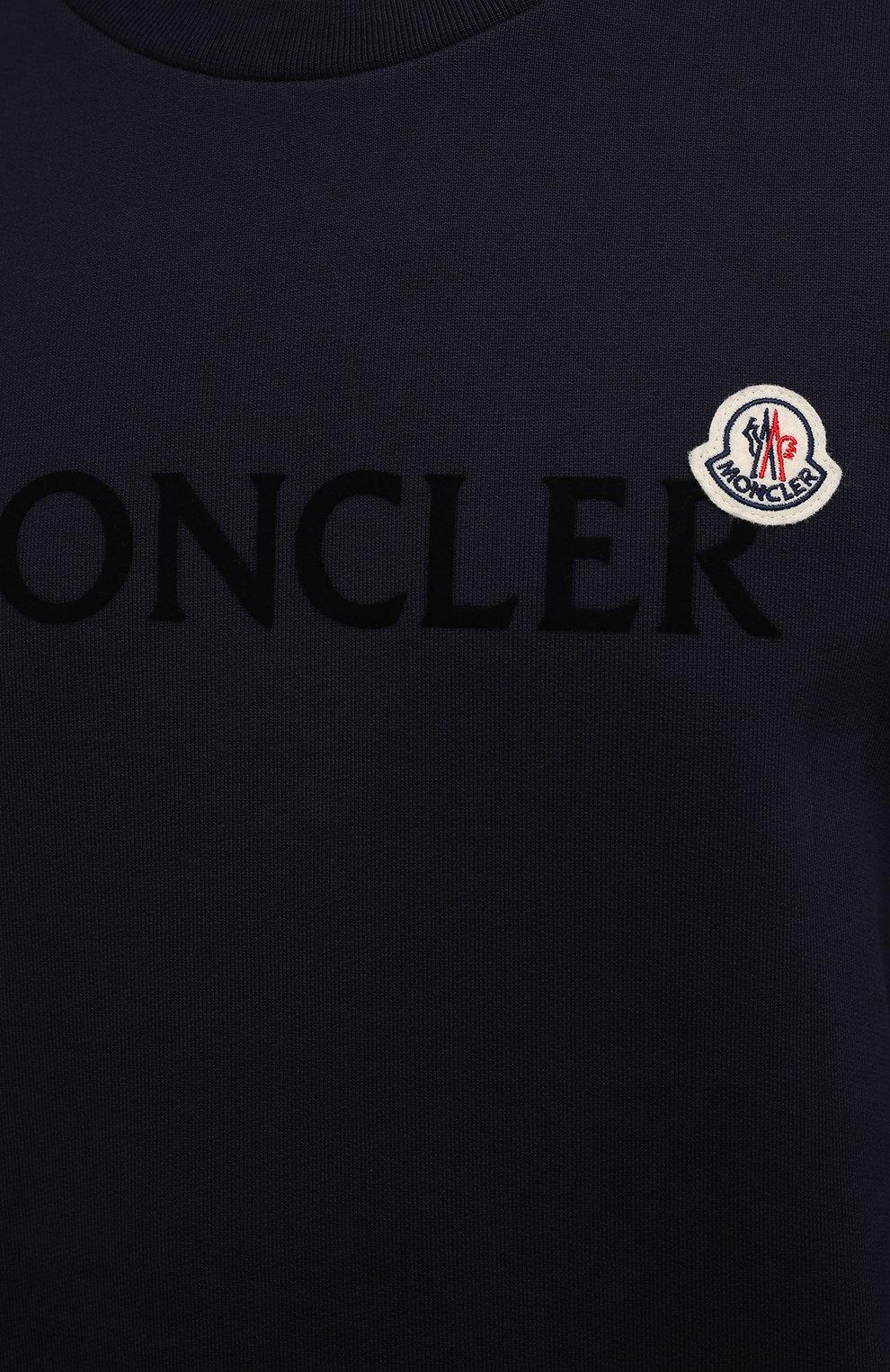 Мужской хлопковый свитшот MONCLER темно-синего цвета, арт. G2-091-8G000-23-809KR | Фото 5 (Рукава: Длинные; Длина (для топов): Стандартные; Принт: С принтом; Мужское Кросс-КТ: свитшот-одежда; Материал внешний: Хлопок; Стили: Кэжуэл)