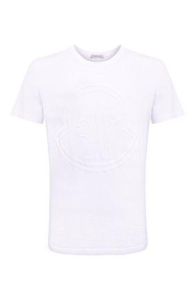 Мужская хлопковая футболка MONCLER белого цвета, арт. G2-091-8C000-54-8390T | Фото 1 (Материал внешний: Хлопок; Рукава: Короткие; Принт: С принтом; Стили: Кэжуэл; Длина (для топов): Стандартные)