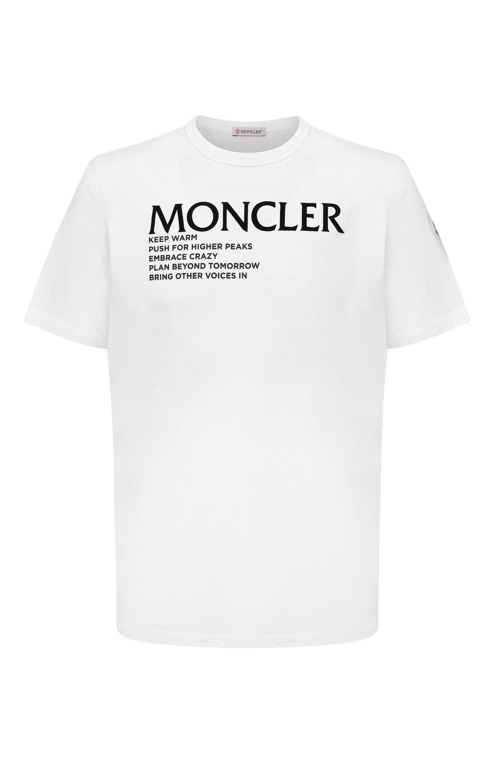 Мужская хлопковая футболка MONCLER белого цвета, арт. G2-091-8C000-42-8390T   Фото 1 (Рукава: Короткие; Длина (для топов): Стандартные; Принт: С принтом; Материал внешний: Хлопок; Стили: Кэжуэл)
