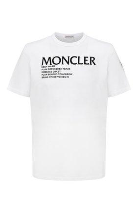 Мужская хлопковая футболка MONCLER белого цвета, арт. G2-091-8C000-42-8390T | Фото 1