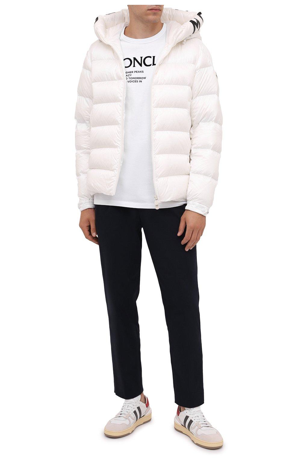 Мужская хлопковая футболка MONCLER белого цвета, арт. G2-091-8C000-42-8390T   Фото 2 (Рукава: Короткие; Длина (для топов): Стандартные; Принт: С принтом; Материал внешний: Хлопок; Стили: Кэжуэл)