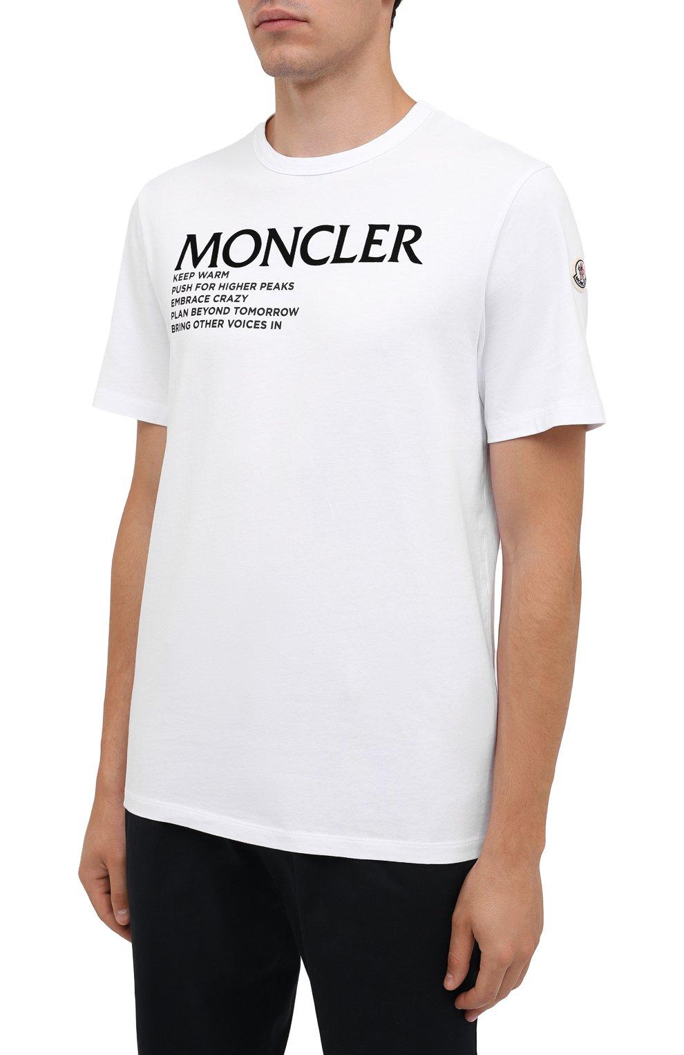 Мужская хлопковая футболка MONCLER белого цвета, арт. G2-091-8C000-42-8390T   Фото 3 (Рукава: Короткие; Длина (для топов): Стандартные; Принт: С принтом; Материал внешний: Хлопок; Стили: Кэжуэл)