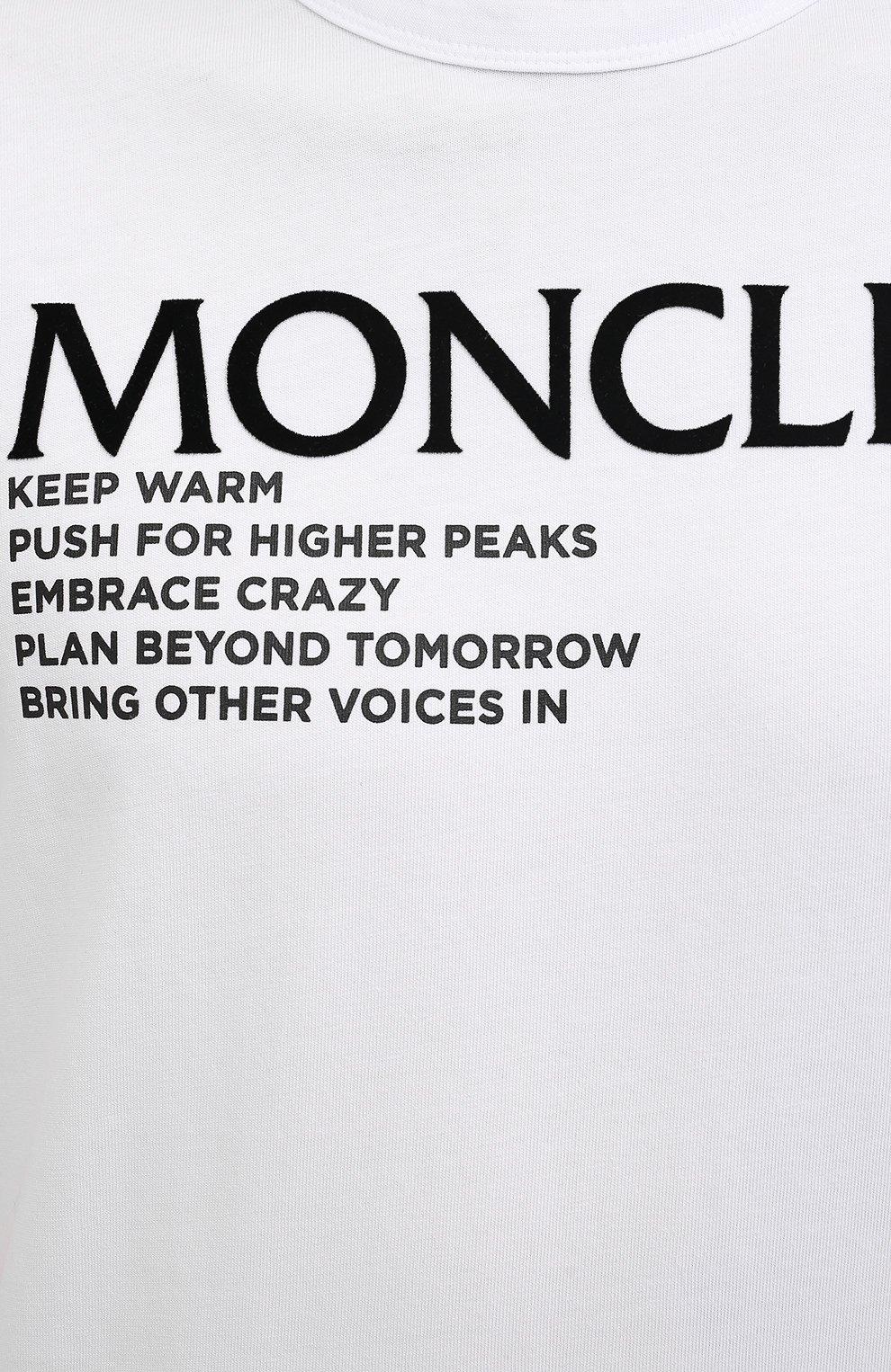 Мужская хлопковая футболка MONCLER белого цвета, арт. G2-091-8C000-42-8390T   Фото 5 (Рукава: Короткие; Длина (для топов): Стандартные; Принт: С принтом; Материал внешний: Хлопок; Стили: Кэжуэл)