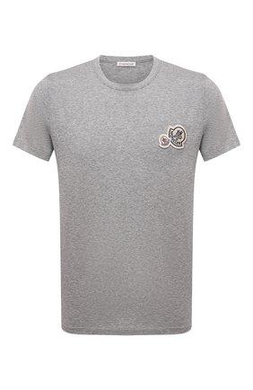 Мужская хлопковая футболка MONCLER серого цвета, арт. G2-091-8C000-38-8390Y | Фото 1 (Материал внешний: Хлопок; Длина (для топов): Стандартные; Рукава: Короткие; Принт: Без принта; Стили: Кэжуэл)