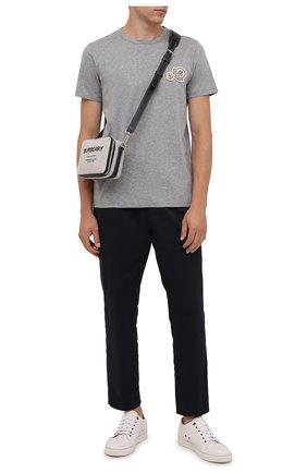 Мужская хлопковая футболка MONCLER серого цвета, арт. G2-091-8C000-38-8390Y | Фото 2 (Материал внешний: Хлопок; Длина (для топов): Стандартные; Рукава: Короткие; Принт: Без принта; Стили: Кэжуэл)