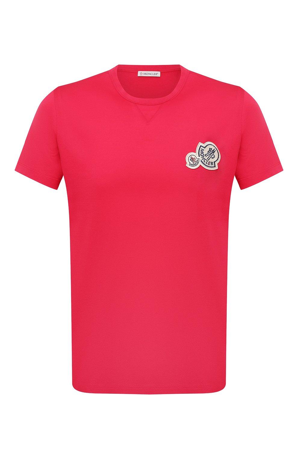 Мужская хлопковая футболка MONCLER фуксия цвета, арт. G2-091-8C000-38-8390Y | Фото 1 (Принт: Без принта; Рукава: Короткие; Длина (для топов): Стандартные; Материал внешний: Хлопок; Стили: Кэжуэл)
