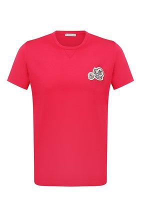 Мужская хлопковая футболка MONCLER фуксия цвета, арт. G2-091-8C000-38-8390Y | Фото 1