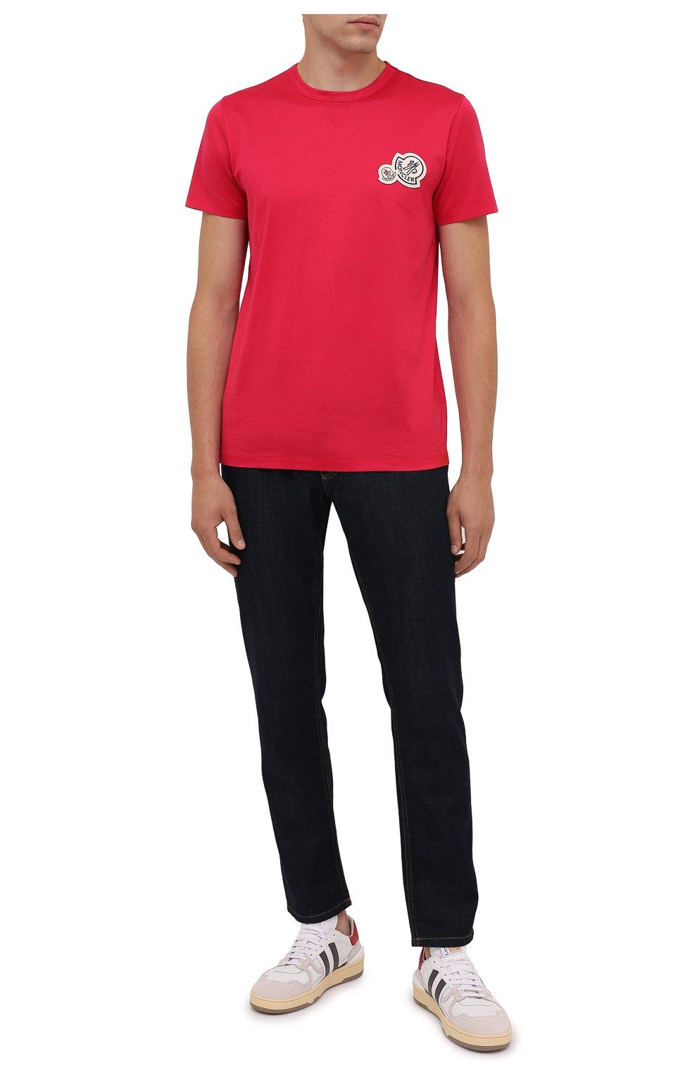 Мужская хлопковая футболка MONCLER фуксия цвета, арт. G2-091-8C000-38-8390Y | Фото 2 (Принт: Без принта; Рукава: Короткие; Длина (для топов): Стандартные; Материал внешний: Хлопок; Стили: Кэжуэл)