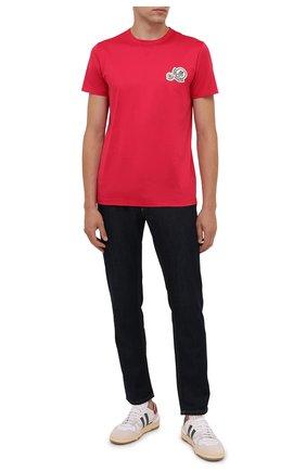 Мужская хлопковая футболка MONCLER фуксия цвета, арт. G2-091-8C000-38-8390Y | Фото 2