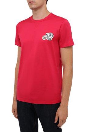 Мужская хлопковая футболка MONCLER фуксия цвета, арт. G2-091-8C000-38-8390Y | Фото 3 (Принт: Без принта; Рукава: Короткие; Длина (для топов): Стандартные; Материал внешний: Хлопок; Стили: Кэжуэл)