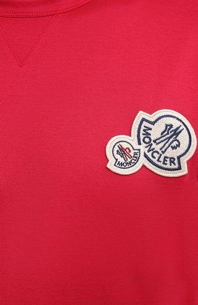 Мужская хлопковая футболка MONCLER фуксия цвета, арт. G2-091-8C000-38-8390Y | Фото 5 (Принт: Без принта; Рукава: Короткие; Длина (для топов): Стандартные; Материал внешний: Хлопок; Стили: Кэжуэл)