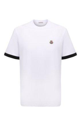 Мужская хлопковая футболка MONCLER белого цвета, арт. G2-091-8C000-26-8390T | Фото 1 (Материал внешний: Хлопок; Рукава: Короткие; Принт: Без принта; Стили: Кэжуэл; Длина (для топов): Стандартные)