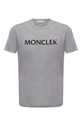 Мужская хлопковая футболка MONCLER серого цвета, арт. G2-091-8C000-22-8390T | Фото 1