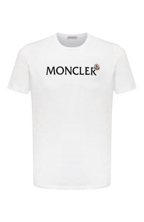 Мужская хлопковая футболка MONCLER белого цвета, арт. G2-091-8C000-22-8390T | Фото 1 (Материал внешний: Хлопок; Рукава: Короткие; Принт: С принтом; Стили: Кэжуэл; Длина (для топов): Стандартные)