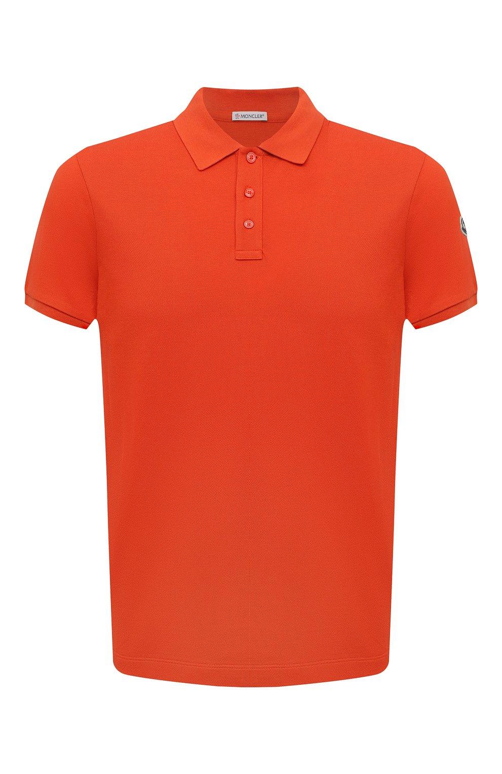 Мужское хлопковое поло MONCLER оранжевого цвета, арт. G2-091-8A705-10-84556 | Фото 1 (Застежка: Пуговицы; Рукава: Короткие; Длина (для топов): Стандартные; Кросс-КТ: Трикотаж; Материал внешний: Хлопок; Стили: Кэжуэл)