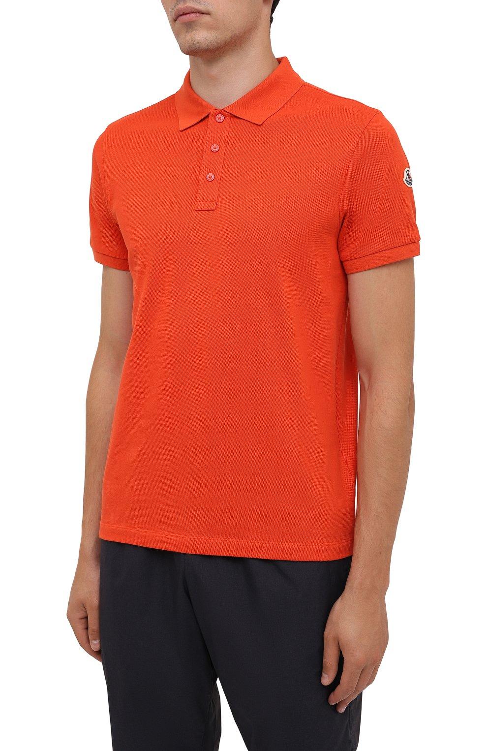 Мужское хлопковое поло MONCLER оранжевого цвета, арт. G2-091-8A705-10-84556 | Фото 3 (Застежка: Пуговицы; Рукава: Короткие; Длина (для топов): Стандартные; Кросс-КТ: Трикотаж; Материал внешний: Хлопок; Стили: Кэжуэл)