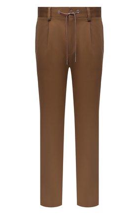 Мужские хлопковые брюки MONCLER коричневого цвета, арт. G2-091-2A000-05-54A1U | Фото 1 (Материал внешний: Хлопок; Длина (брюки, джинсы): Стандартные; Случай: Повседневный; Стили: Кэжуэл)