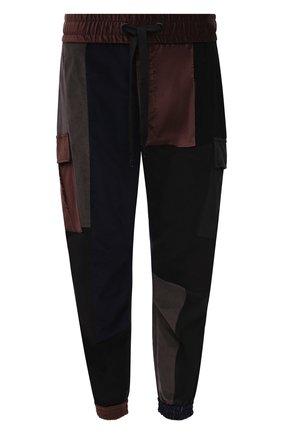 Мужские джоггеры из хлопка и шелка DOLCE & GABBANA разноцветного цвета, арт. GWMVHT/GES14   Фото 1 (Длина (брюки, джинсы): Стандартные; Материал внешний: Хлопок; Силуэт М (брюки): Джоггеры, Карго; Стили: Гранж)