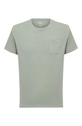 Мужская хлопковая футболка RRL светло-зеленого цвета, арт. 782775235 | Фото 1