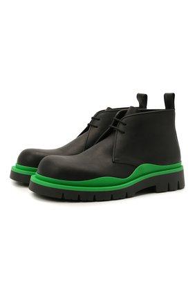 Мужские кожаные ботинки tire BOTTEGA VENETA черного цвета, арт. 667074/VBS50 | Фото 1 (Материал внутренний: Натуральная кожа; Мужское Кросс-КТ: Ботинки-обувь; Подошва: Плоская)