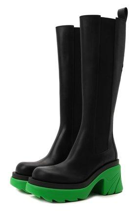 Женские кожаные сапоги BOTTEGA VENETA зеленого цвета, арт. 667149/VBS50 | Фото 1 (Материал внутренний: Натуральная кожа; Каблук тип: Устойчивый; Каблук высота: Высокий; Высота голенища: Средние; Подошва: Платформа)