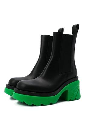 Женские кожаные ботильоны flash BOTTEGA VENETA зеленого цвета, арт. 667148/VBS50 | Фото 1 (Каблук тип: Устойчивый; Материал внутренний: Натуральная кожа; Подошва: Платформа; Каблук высота: Высокий)